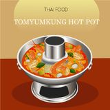 Prawn spicy soup Tom Yum Kung Thai cuisine hot pot vector Stock Images