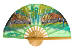 Thai fan isolated. Fan from Thailand isolated on white background Royalty Free Stock Image