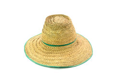 Thai farmer Old hat made of woven bamboo on white background Royalty Free Stock Image