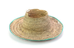 Thai farmer Old hat made of woven bamboo on white background Royalty Free Stock Images