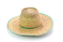 Thai farmer Old hat made of woven bamboo on white background Royalty Free Stock Photo