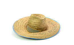 Thai farmer Old hat made of woven bamboo on white background Royalty Free Stock Photography