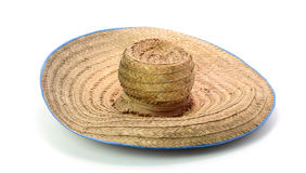 Thai farmer Old hat made of woven bamboo on white background Stock Photo