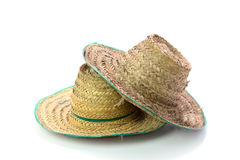 Thai farmer Old hat made of woven bamboo on white background Stock Image