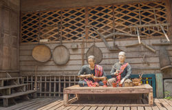 Thai farmer sculptures placing in front of local museum Stock Photo