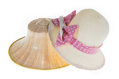 Thai Farmers Palm Hat With Sweet Hat With Pretty straw hat On Wh. Thai Farmers Palm Hat With Pretty straw hat Isolated on white background Stock Photo