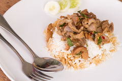 Thai fast food Fried basil leave with chicken on rice Royalty Free Stock Image