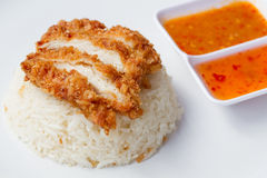 Thai fast food  fried chicken served on rice cooked in chicken broth Royalty Free Stock Images