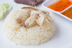Thai fast food rice steamed with chicken soup Royalty Free Stock Images