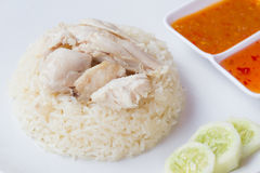 Thai fast food rice steamed with chicken soup Royalty Free Stock Photos