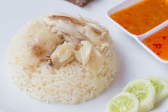 Thai fast food rice steamed with chicken soup Stock Photography