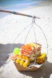 Thai fastfood on the beach. Fruits on the beach Stock Photography