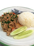 Thai favorite dish. Steamed rice with fried pork and basil Stock Images