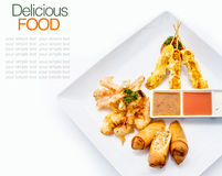 Thai favourites with spring roll vegetable,chicken satay,shrimp Royalty Free Stock Image