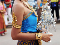 Thai female in bright traditional dress Royalty Free Stock Images