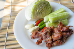 Thai fermented pork fried and vegetable. Thai fermented pork fried food is one. Made with meat, like a sour pork with rice, sugar, salt and saltpeter sour taste royalty free stock photos