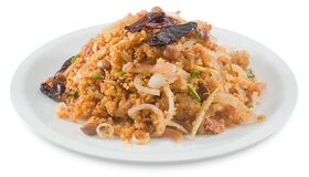 Thai Fermented Pork Salad with Spicy Rice on White Royalty Free Stock Photo