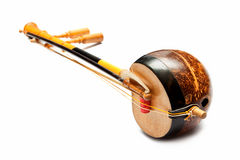 Thai fiddle bass sounded string music instrument. Isolate stock photo