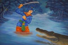 Thai fine art wall painting Royalty Free Stock Photo