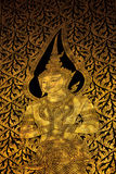Thai fine arts painting on the temple door Royalty Free Stock Photography
