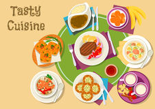 Thai and finnish cuisine dishes with dessert icon. Thai and finnish cuisine dishes icon with green curry, fried banana, shrimp mushroom soup and pork sandwich Royalty Free Stock Images