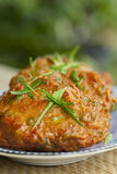 Thai Fish Cakes. Close up of Thai fish cakes with kefir lime leaves Stock Photos