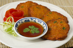 Thai fish cakes. A famous appetizer Royalty Free Stock Images