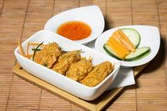 Thai fish cakes with chili sauce Royalty Free Stock Photos