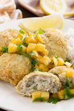 Thai fish cakes with mango salsa and rice, selective focus Stock Photos