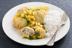 Thai Fish Cakes With Mango Salsa And White Rice Royalty Free Stock Image