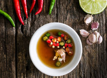 Thai fish sauce three taste. Is made from real  ferment fish , lemon and garlic. have fragrant smell and three taste sweet, salty and sour, it popular Side Stock Photos