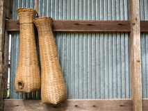 Thai fish trap made of rattan stock photos