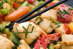 Thai Fish with Vegetable Royalty Free Stock Images