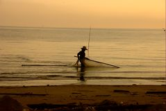 Thai fisherman life Stock Photography
