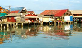 Thai fishermans village Stock Photos