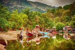 Thai fishermans village Royalty Free Stock Image