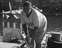 Thai fisherwoman Khao Takiab Hua Hin royalty free stock photos