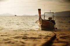 Thai fishing boat at beach, Thailand,  Lipe Island,Satun province, Andaman. Sea Royalty Free Stock Photos