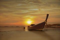 Thai fishing boat at beach, Thailand, Lipe Island. Satun province, Andaman sea Royalty Free Stock Image