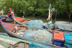 Thai fishing boat in fisherman village Stock Images