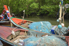 Thai fishing boat in fisherman village Stock Photos