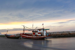 Thai fishing boat at sunset Royalty Free Stock Image