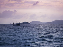 Thai fishing boat sunset seascape thailand Royalty Free Stock Image