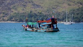 Thai fishing boat stock video footage