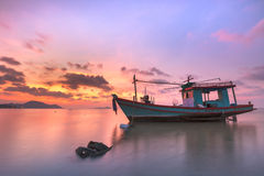 Thai fishing boat used as a vehicle for finding fish in the sea. royalty free stock photos