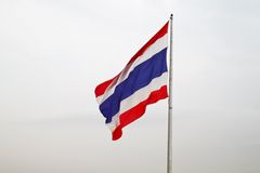 Thai flag. In clouded sky Royalty Free Stock Image