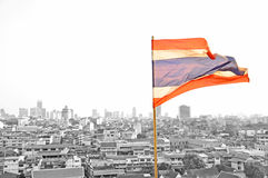 Thai flag. And buildings view from Wat Saket (Golden mountain), Bangkok of Thailand Royalty Free Stock Image