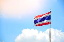 Thai flag against blue sky Royalty Free Stock Photos
