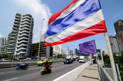 Thai flag in Bangkok Stock Photography