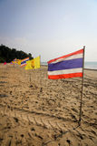 Thai flag on the beach Royalty Free Stock Photo